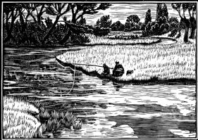 wood-engraving original print: Fishing for London Mercury magazine